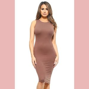 Dresses & Skirts - Taupe Bodycon Midi Dress
